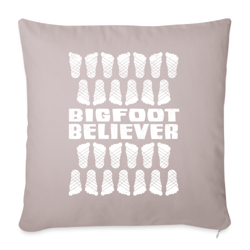 "Bigfoot Believer Distressed Vintage Foot Pattern Sasquatch - Throw Pillow Cover - Throw Pillow Cover 18"" x 18"""