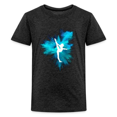 Gymnast Silhouette Blue Explosion - Kids' Premium T-Shirt
