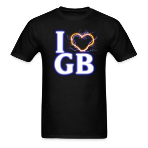 Men's T-Shirt - I heart GB, with the heart shaped from proton streams.