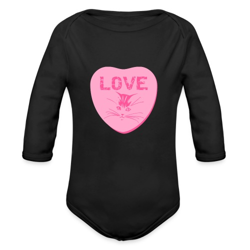 Valentine Heart Love Cats Premium Organic Long Sleeve Baby Bodysuit - Organic Long Sleeve Baby Bodysuit