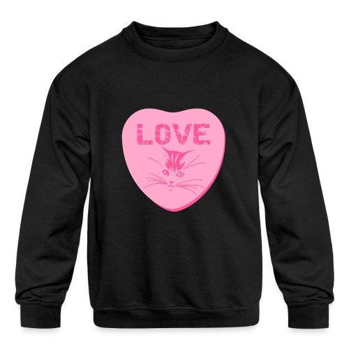 Valentine Heart Love Cats Kids Sweatshirt - Kids' Crewneck Sweatshirt