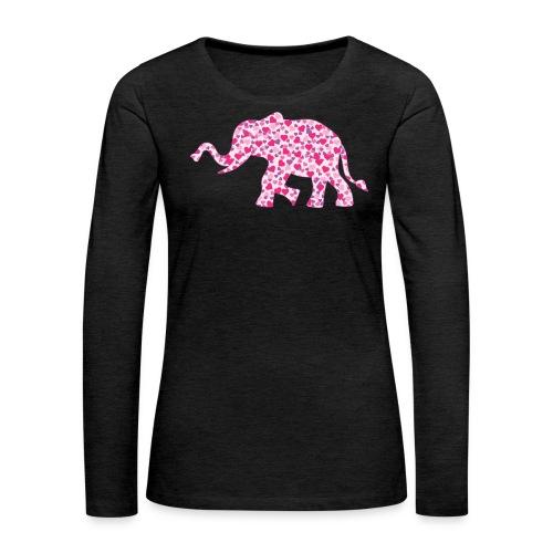 Pink Hearts Elephant - Women's Premium Long Sleeve T-Shirt
