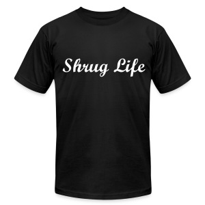Shrug Life, Cursive Tee - Men's T-Shirt by American Apparel