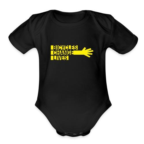BCL Yellow Hand Babies - Organic Short Sleeve Baby Bodysuit