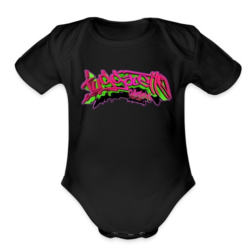 Blox3dnyc.com Juggalette design.Green/Purple - Organic Short Sleeve Baby Bodysuit