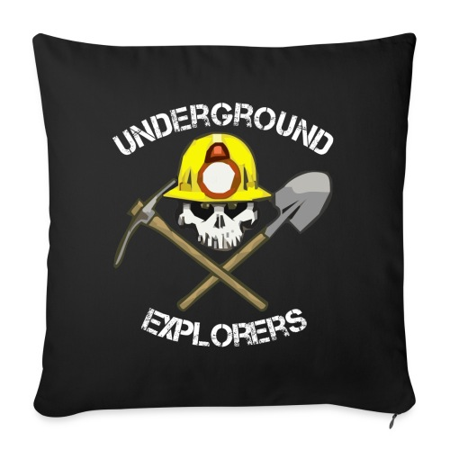 "Underground Explorers and Underground Explorers Overland Black Logo Throw Pillow - Throw Pillow Cover 18"" x 18"""