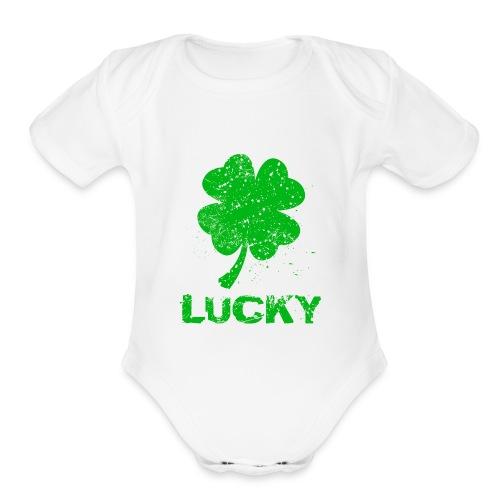 Lucky Four Leaf Clover Vintage Organic Baby Bodysuit - Organic Short Sleeve Baby Bodysuit