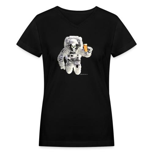 HOPSKULL Astronaut Women's V-Neck T-Shirt - Women's V-Neck T-Shirt