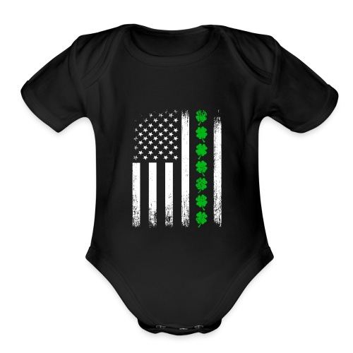 Vintage US Shamrock Flag Organic Baby Bodysuit - Organic Short Sleeve Baby Bodysuit