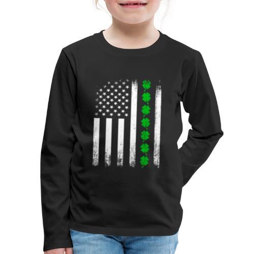 Vintage US Shamrock Flag Kids Long Sleeve Premium T-shirt - Kids' Premium Long Sleeve T-Shirt