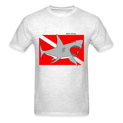 Great White Shark Diving with Diver Down Flag - Men's T-Shirt