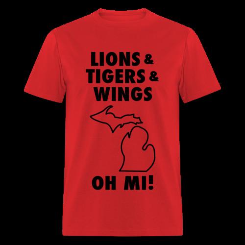 Lions & Tigers & Wings Oh MI! black - Men's T-Shirt