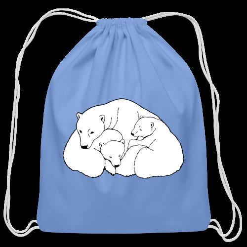 Polar Bear Bags Bear & Cubs Art Backpack Bags  - Cotton Drawstring Bag
