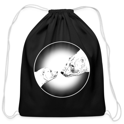 Polar Bear Bags Bear & Cub Art Backpack Bags  - Cotton Drawstring Bag