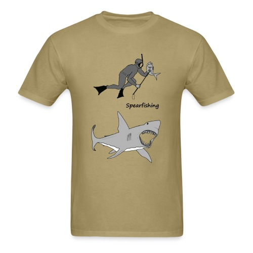 Spearfishing Diver with Fish and a Great White Shark - Men's T-Shirt