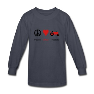 Peace Love Tractors - Kids' Long Sleeve T-Shirt