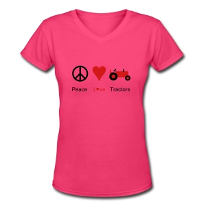 Peace Love Tractors - Women's V-Neck T-Shirt