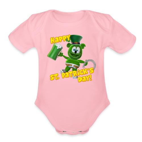 Gummibär (The Gummy Bear) St. Patrick's Day Organic Short Sleeve Baby Bodysuit - Organic Short Sleeve Baby Bodysuit