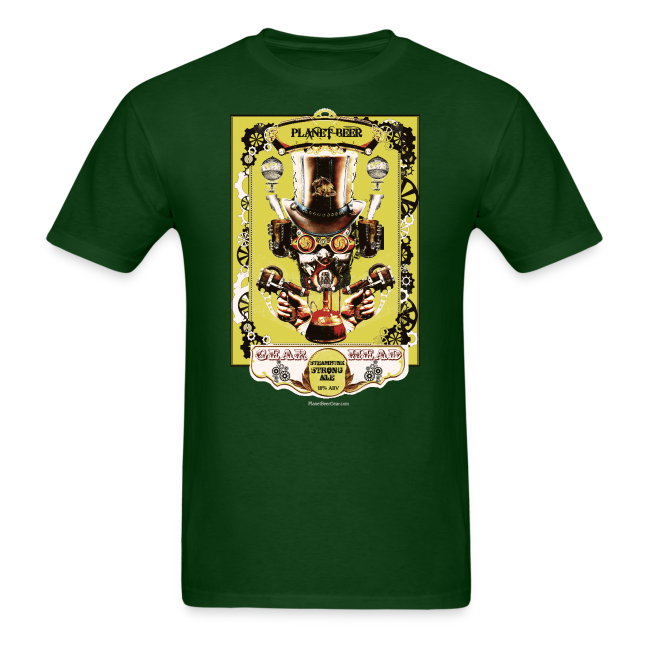 Planet Beer Gear Head Steampunk Strong Ale Men's T-Shirt