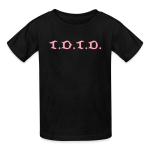 Child's black custom tee with pink abbreviated logo - Kids' T-Shirt