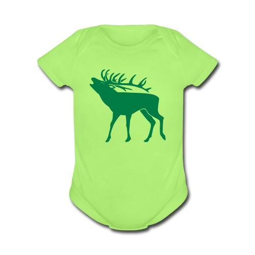 animal t-shirt stag antler cervine deer buck night hunter bachelor - Organic Short Sleeve Baby Bodysuit