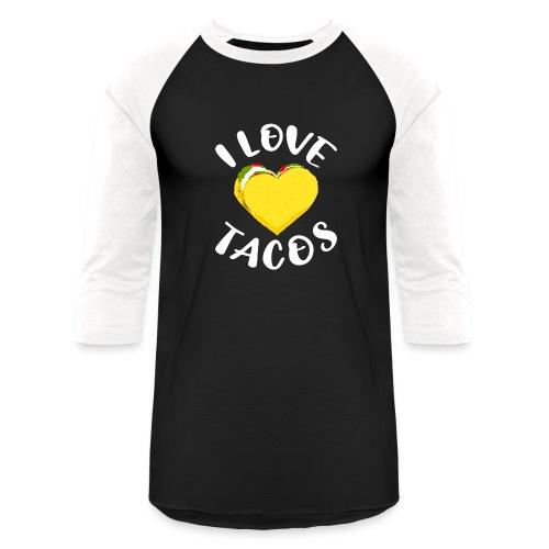 I Love Tacos Heart Unisex Baseball Long Sleeve Tshirt - Baseball T-Shirt