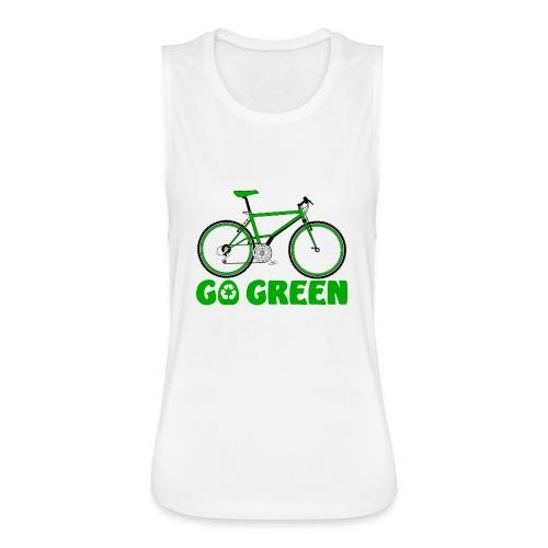 Go Green Earth Day Bike Womens Flowy Muscle Tank - Women's Flowy Muscle Tank by Bella