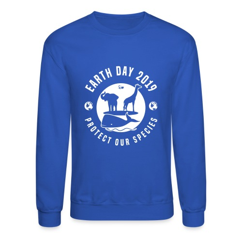 Earth Day 2019 Protect Our Species Mens Blue Crewneck Sweatshirt - Crewneck Sweatshirt