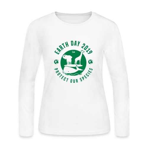 Earth Day 2019 Protect Our Species Womens Long Sleeve T-shirt - Women's Long Sleeve Jersey T-Shirt