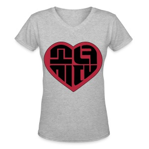 SNSD - IGAB Logo (Black-Red) - Women's V-Neck T-Shirt