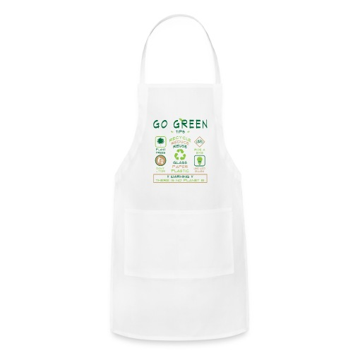 Go Green Eco Tips White Chef or Craft Apron - Adjustable Apron