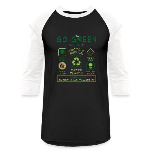 Go Green Eco Tips Unisex Long Sleeve Baseball Tshirt - Baseball T-Shirt