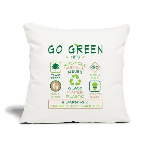 "Go Green Eco Tips Printed White Throw Pillow Cover - Throw Pillow Cover 18"" x 18"""