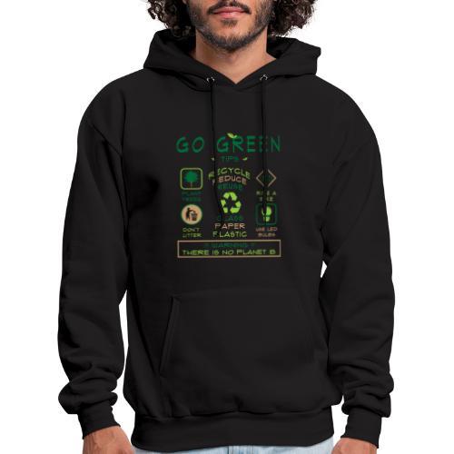 Go Green Eco Tips Mens Black Hoodie - Men's Hoodie