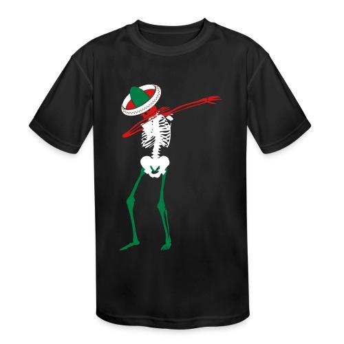 Cinco de Mayo Dab Skeleton Kids Moisture Wicking Tee - Kids' Moisture Wicking Performance T-Shirt