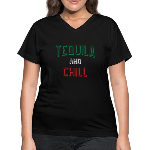Tequila And Chill Womens V-Neck Tshirt - Women's V-Neck T-Shirt