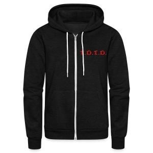 Abbreviated logo with bloody hand print on back - Unisex Fleece Zip Hoodie by American Apparel