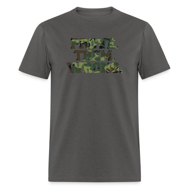 Prove Them Wrong camo print fitness logo
