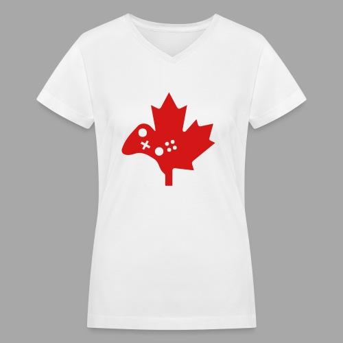 Women's V-Neck Tee - Red Logo - Women's V-Neck T-Shirt