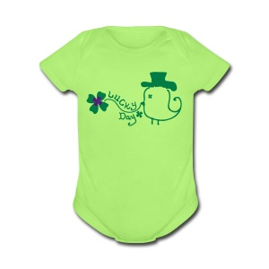 Lucky day shamrock st.Patty's day Baby Short Sleeve One Piece - Short Sleeve Baby Bodysuit
