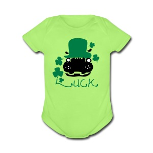 Luck Hipo in green hat st.patty's day Baby Short Sleeve One Piece - Short Sleeve Baby Bodysuit