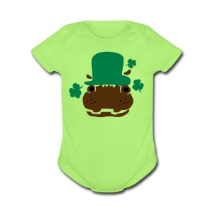 Hipo in green hat lucky charm Baby Short Sleeve One Piece - Short Sleeve Baby Bodysuit