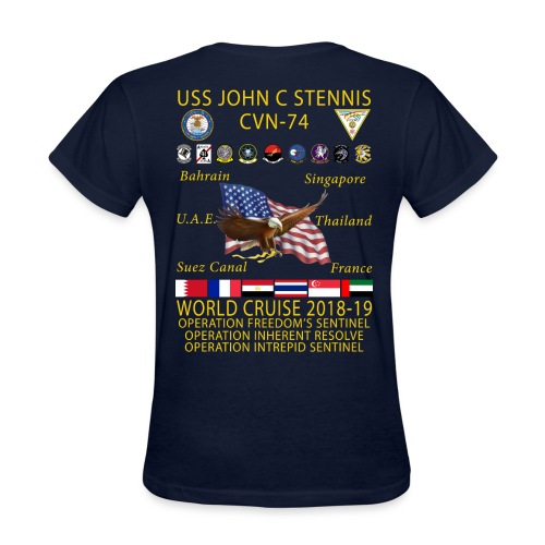 USS JOHN C STENNIS 2018-19 WORLD CRUISE SHIRT - WOMENS - Women's T-Shirt