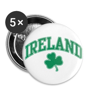 Green and White Ireland Buttons - Large Buttons