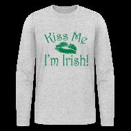 Long Sleeve Shirts ~ Men's Long Sleeve T-Shirt by American Apparel ~ Unisex/Men's Kiss Me I'm Irish Shirt