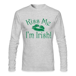 Unisex/Men's Kiss Me I'm Irish Shirt - Men's Long Sleeve T-Shirt by Next Level