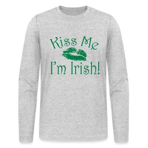 Unisex/Men's Kiss Me I'm Irish Shirt - Men's Long Sleeve T-Shirt by Next Level