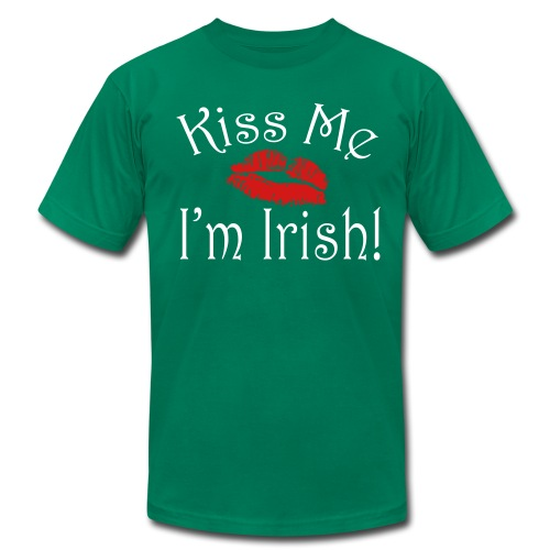 Unisex/Men's Kiss Me I'm Irish T-Shirt - Men's T-Shirt by American Apparel