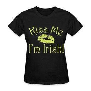 Lime Sparkle Black Kiss Me I'm Irish Women's Tshirt - Women's T-Shirt