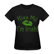 T-Shirts ~ Women's T-Shirt ~ Green Glitter Kiss Me I'm Irish Women's Tshirt